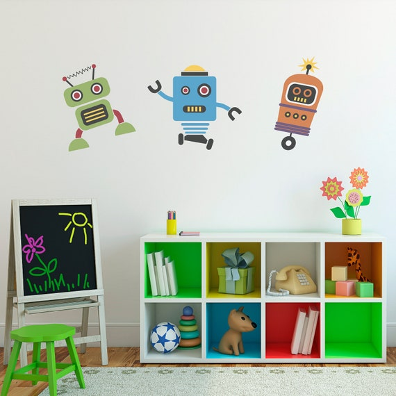 cute robots decal group vinyl wall art children wall | etsy