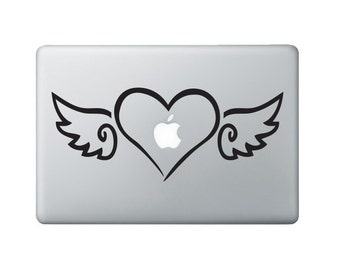 Heart with Wings Laptop Decal - Heart & Wings Macbook Decal - Laptop Sticker