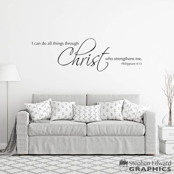 ZALING Inspirational Quotes Removable Wall Stickers I Can Do All Things Through Christ Who Strengthens Me Art Wall Decor