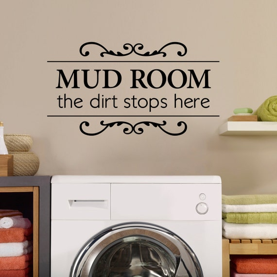 mud room wall decal the dirt stops here utility room decor | etsy