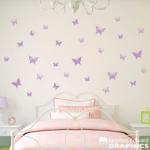 Butterfly Decal - Set of 28 Butterflies Wall Decals - Girl Bedroom Decor -  Girl Wall Stickers