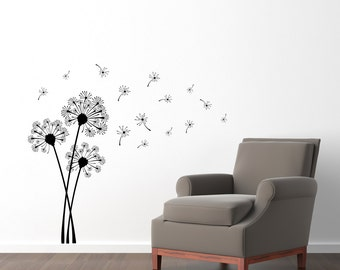 Dandelion Wall Decal Set - Dandelions blowing in the wind - Dandelion Flower and Seeds Wall Sticker - Medium Decal