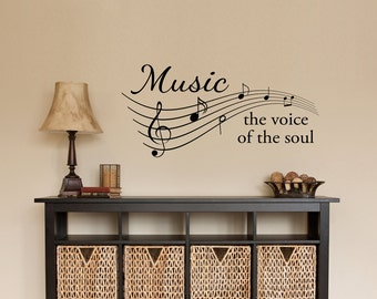 Music Decal - Music the voice of the soul Quote - Musical Notes Wall Decor - Music Staff Wall Sticker