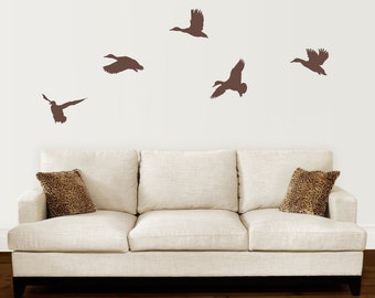 Duck Wall Decal Set - Mallard Ducks Flying Decal - Set of 5