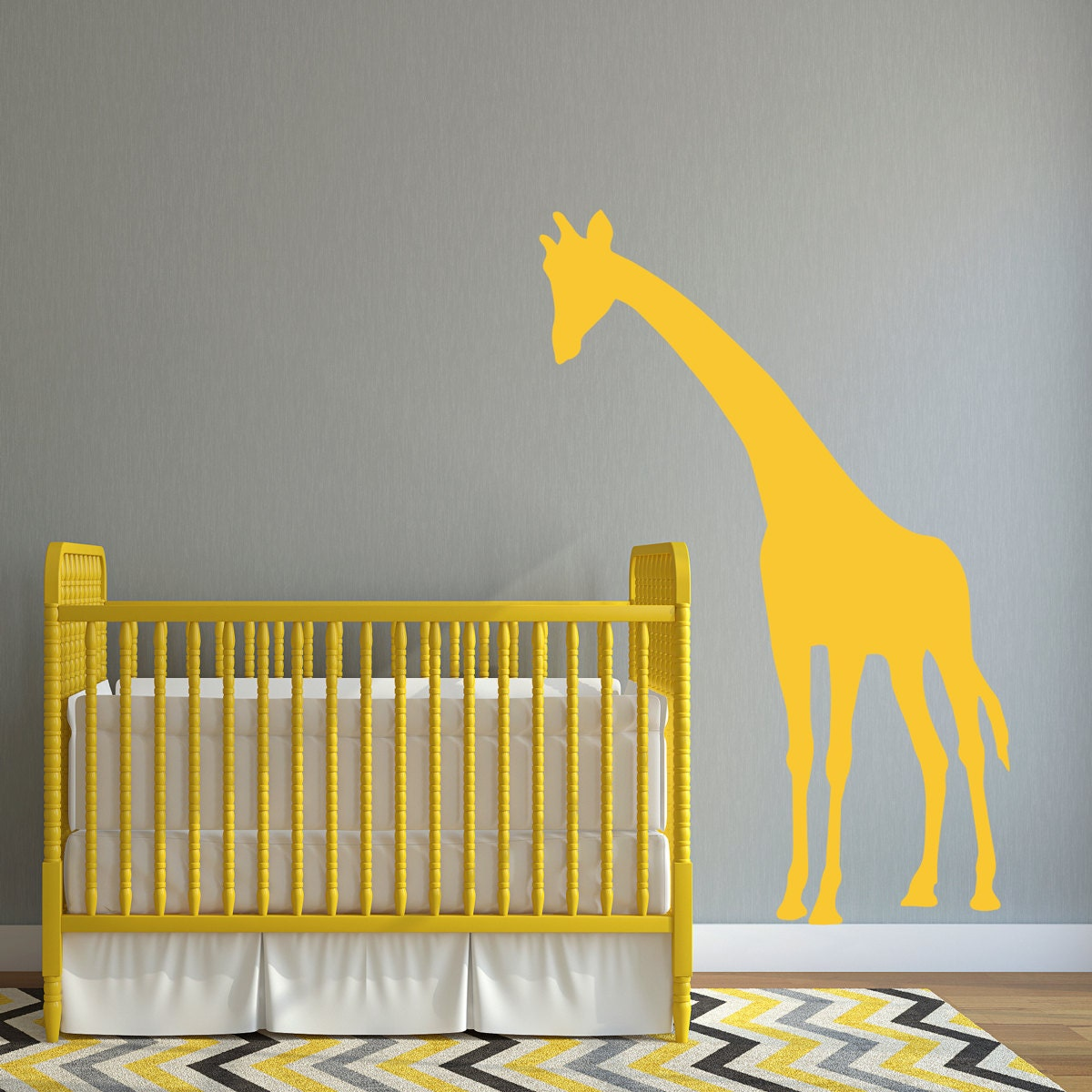 Giraffe Wall Decal Giraffe Decal leaning over crib Nursery