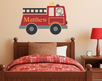 Firetruck Wall Decal Personalized - Boy & Name Wall Decal - Fire Truck Wall Sticker - Printed Decal