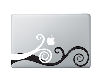 Laptop Decal Wavy Swirl - Macbook Decal - 2 colors