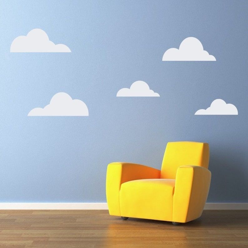 clouds wall decal set of 5 cloud decals wall stickers | etsy