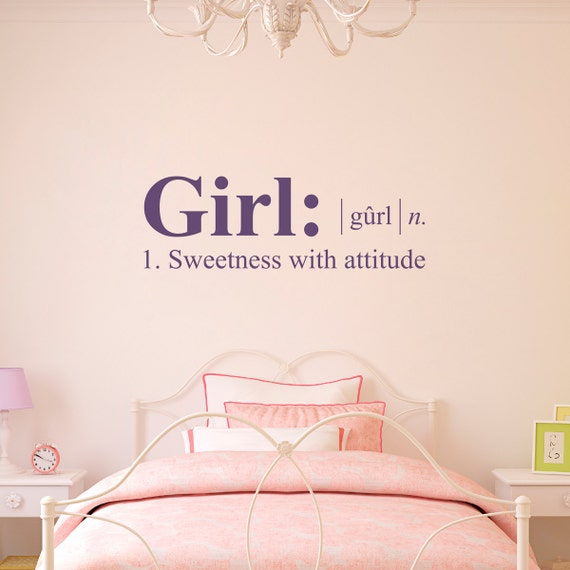 Girl Wall Decal - Dictionary definition Decal - Girl Bedroom Wall Decal -  Medium