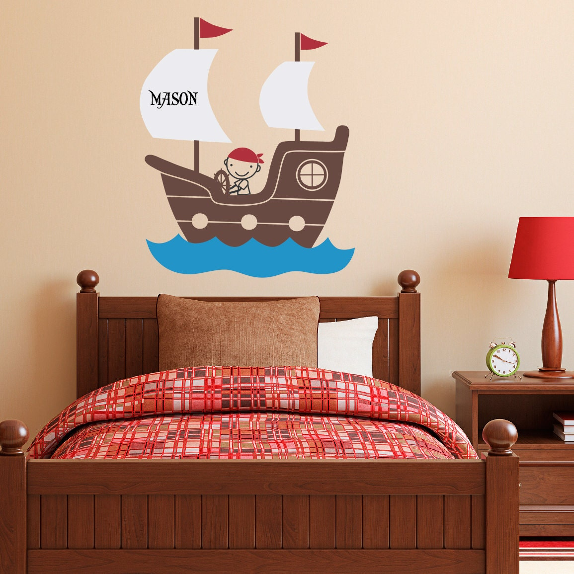 Pirates Kids Wall Decal: Pirate Ship Wall Decal With Personalized Boys Name Pirate