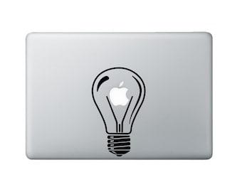 Lightbulb Macbook Decal - Bulb Laptop Decal - Apple Decal