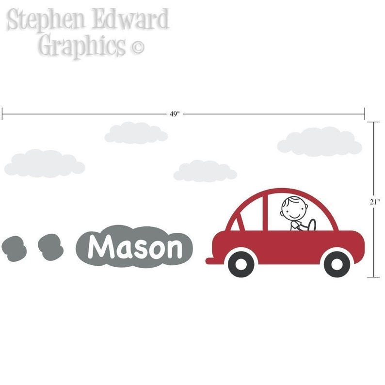 Boy Bedroom Wall Sticker Vinyl Wall Decal Personalized Car Decal with Boys Name Children Wall Decals