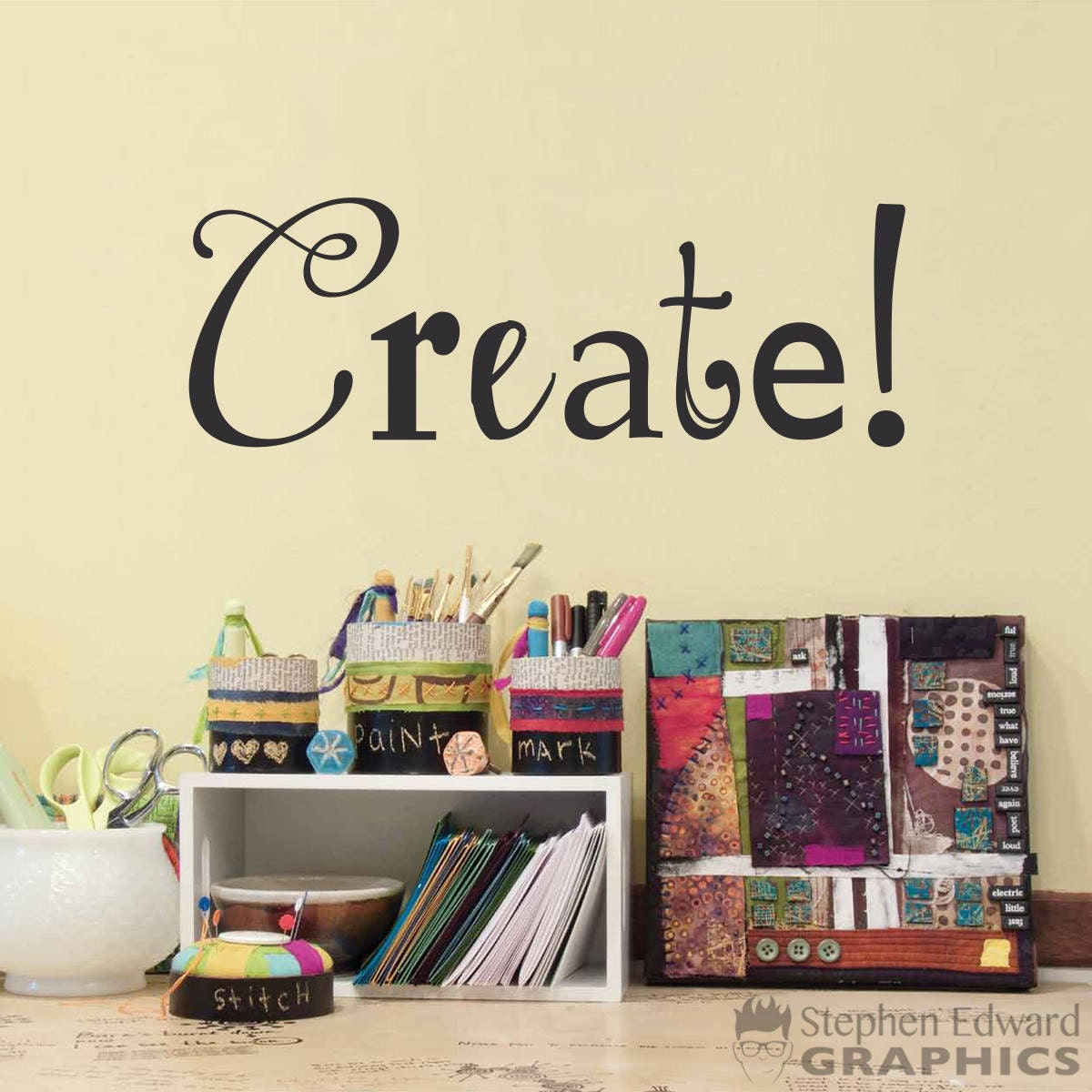 Create Decal Craft Room Or Art Studio Wall Decal Artist