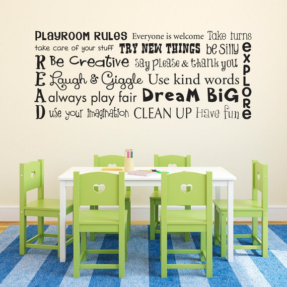 play room rules wall decal playroom rules quote children | etsy