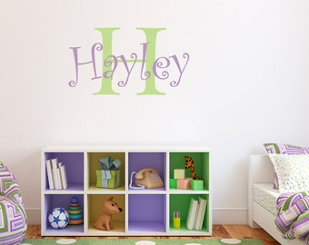Girls Name Wall Decal With Initial   Personalized Name Decal   Girl Bedroom  Decor   Medium