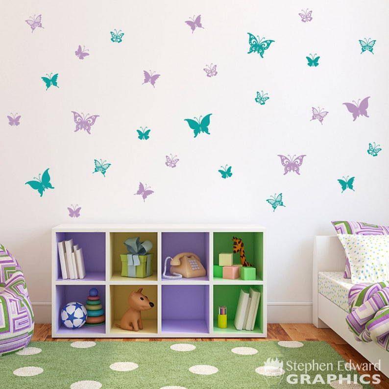 Butterfly Wall Decals Set of 28 Butterflies Girl Bedroom   Etsy