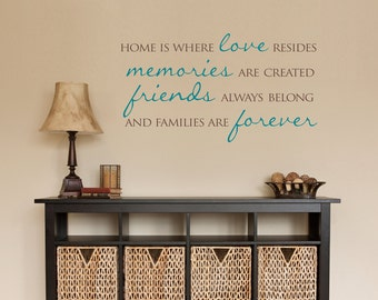 Home Wall Decal - Home is where love resides - Families are forever - Quote Wall Sticker