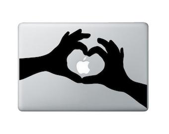 Hand Heart Macbook Decal - Heart Laptop Decal - I heart apple Decal