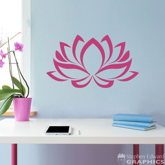 Lotus Decal Lotus Flower Wall Decal Peace Decor Etsy