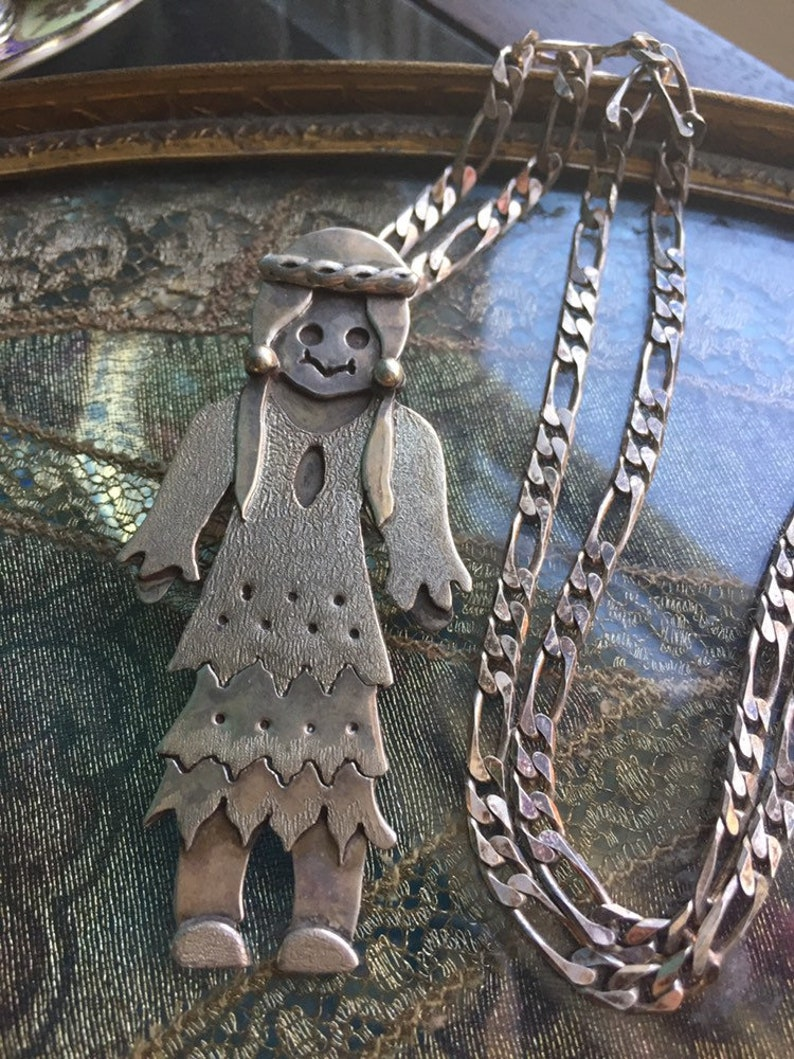 Native American Woman Pendant Vintage Sterling Silver