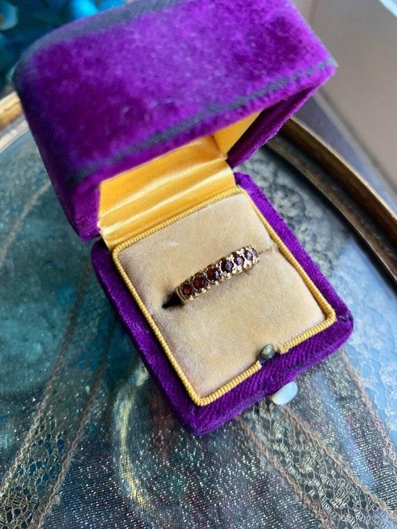 Garnet Half Eternity Ring - 9k Gold - Vintage