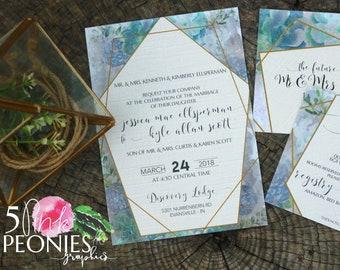 Succulent Wedding Invitations - Wedding Invitations - Purple - Vintage - Geometric Wedding