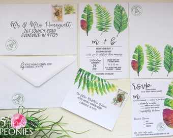 Tropical Wedding Invitations - Wedding Invitations - Tropical Leaves - Summer - Destination Wedding