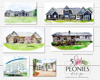 Hand Illustrated Home/Location Watercolor Print and Artwork Design