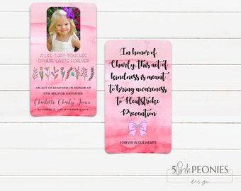 Custom Acts of Kindness Cards - In Memory - Memorial - Wallet Cards - Memory Cards