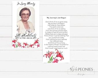CUSTOM Laminated  - In Memory - Memorial - Wallet Cards - Memory Cards