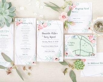 Pink Florals and Succulent Invitations - Wedding Invitations