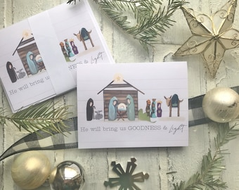 Christmas Nativity Manger Scene Blank Notecards