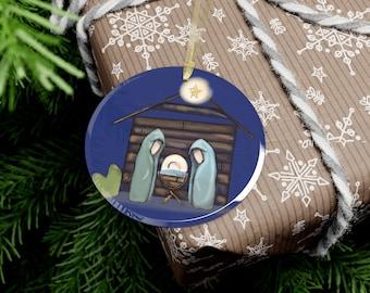 Glass Ornament Nativity Manger Scene Ornament