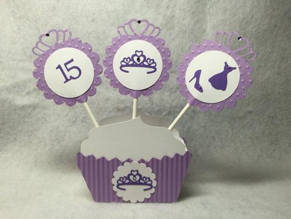 Lavendar Quinceanera Princess Tiara Cupcake Toppers