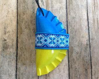 1 Pieróg/Pierogi Ukrainian style Christmas tree ornament - blue and yellow with blue ribbon