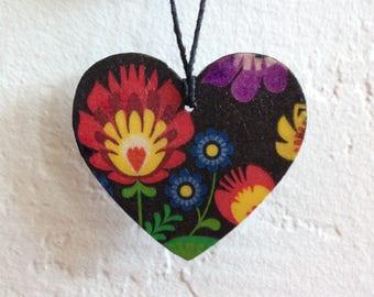 Small Polish folk inspired heart ornament (very thin,double sided)