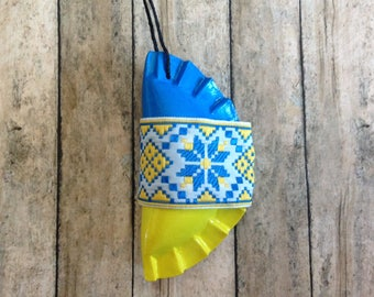 1 Pieróg/Pierogi Ukrainian style ornament - blue and yellow with wide ribbon
