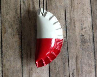 1 Pieróg/Pierogi ornament - white and red - Polish flag inspired gift