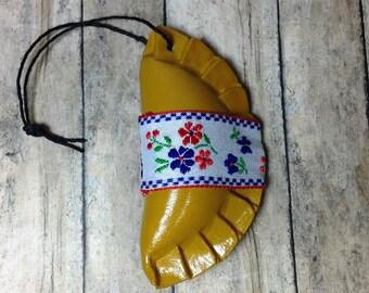 1 Pieróg/Pierogi/Pierogies/Pierogis - Christmas tree ornament - yellow with ribbon