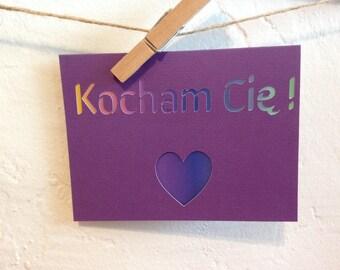 Kocham Cię - I love you in Polish -  paper cut out card - purple