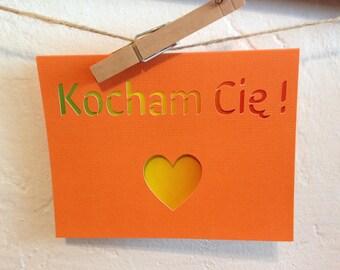 Kocham Cię - I love you in Polish -  paper cut out card - orange