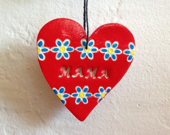 MAMA - red heart polymer clay ornament - Mother's Day gift