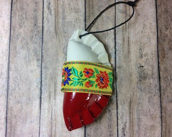 1 Pieróg/Pierogi ornament - white and red - Polish flag inspired gift - with flower ribbon