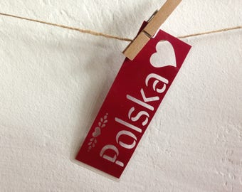Polska (Poland) paper cutout laminated bookmark