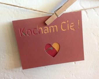 Kocham Cię - I love you in Polish -  paper cut out card