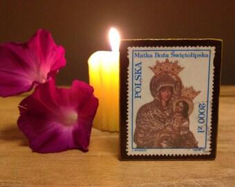 Small Polish religious stamp decoupaged on wooden plaque - Polska - Matka Boża Świętolipska - Our Dear Lady of Świeta Lipka, Poland