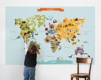 Kids world map etsy world map peel and stick poster sticker gumiabroncs Images