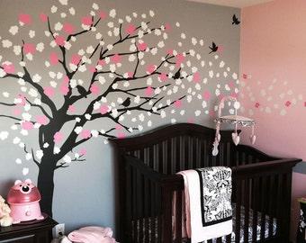 Baby Nursery Wall Decal, Cherry Blossom Tree Decal, Tree Wall Decal, Nursery Decoration, Elegant Cherry Blossom Tree - W1045
