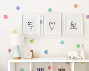 Watercolor Dots Wall Stickers, Rainbow, Irregular Shaped Dots, Polka Dots,  Dot Wall Stickers   Peel And Stick Wall Stickers Kids Room Decor
