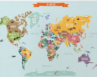 World Map With Labels Of Countries.World Map Decal Etsy